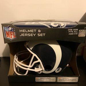 LA Rams Kids Helmet and Jersey